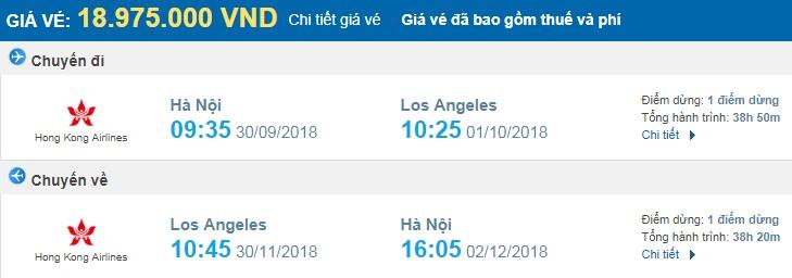 giá vé máy bay khứ hồi Hà Nội Los Angeles