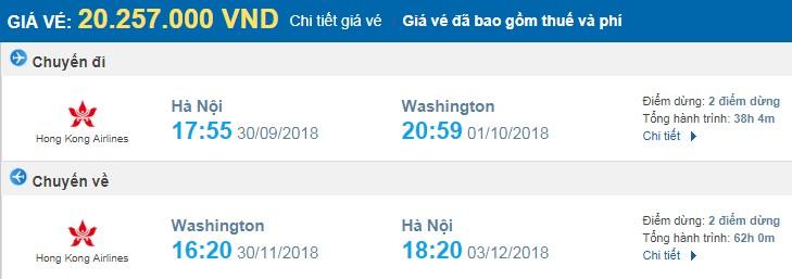 giá vé máy bay khứ hồi Hà Nội Washington