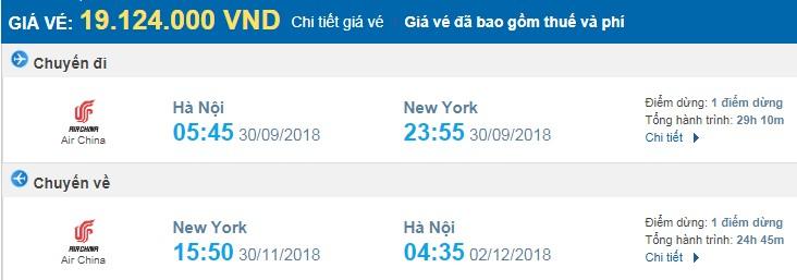 giá vé máy bay khứ hồi Hà nội new york