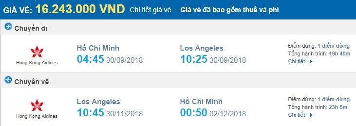 giá vé máy bay khứ hồi Sài Gòn Los Angeles