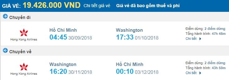 giá vé máy bay khứ hồi Sài Gòn Washington