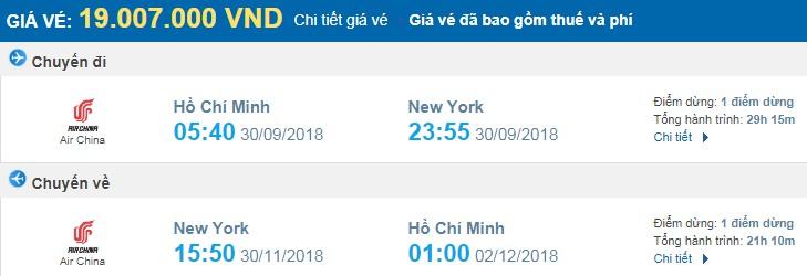 giá vé máy bay khứ hồi sài gòn new york
