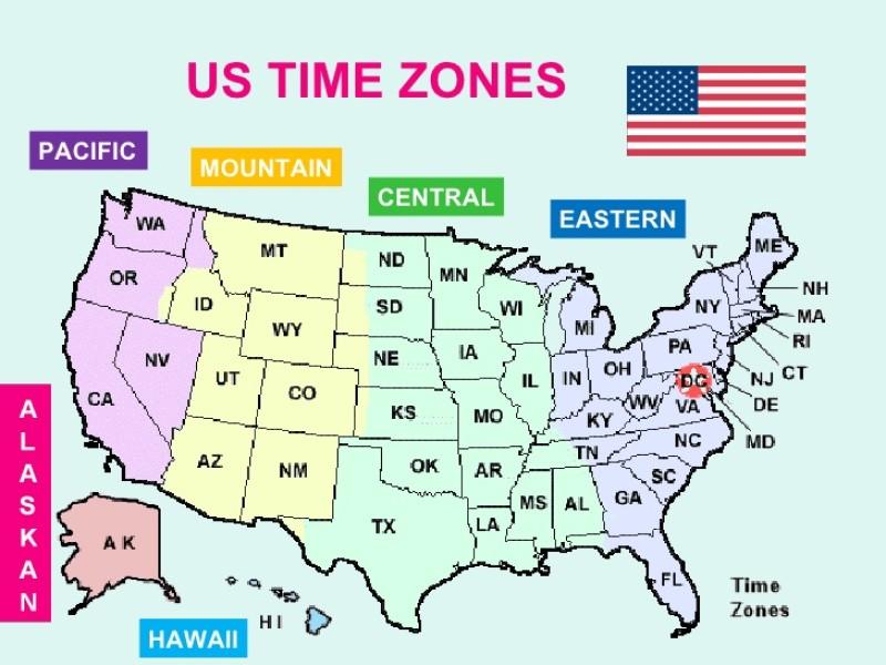 Có 4 múi giờ ở nước Mỹ